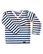Long Sleeve Navy & White Stripe V-Neck Pocket Tee