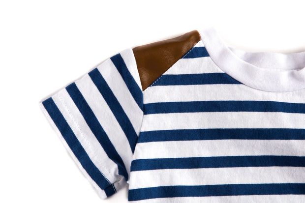 Navy & White Stripe Vegan Leather Shoulder Tee
