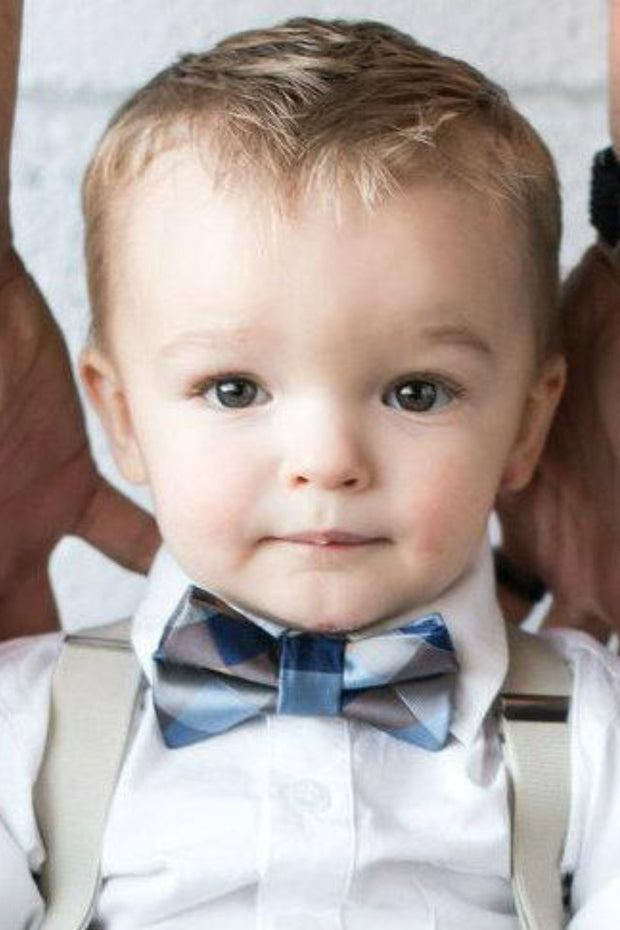 Navy and Caramel Squares Bow Tie (Boys and Men)