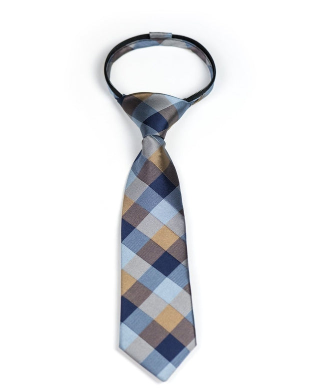 Navy and Caramel Squares Zipper Tie