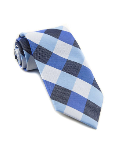 Denim and White Check Standard Necktie (Adult and Youth)