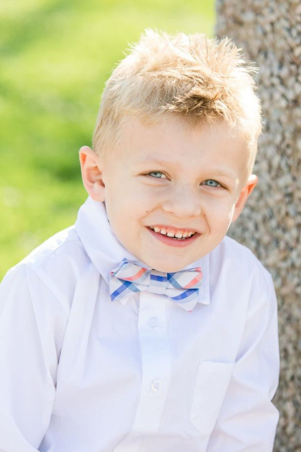 Coral and Blue Plaid Bow Tie (Boys and Men)