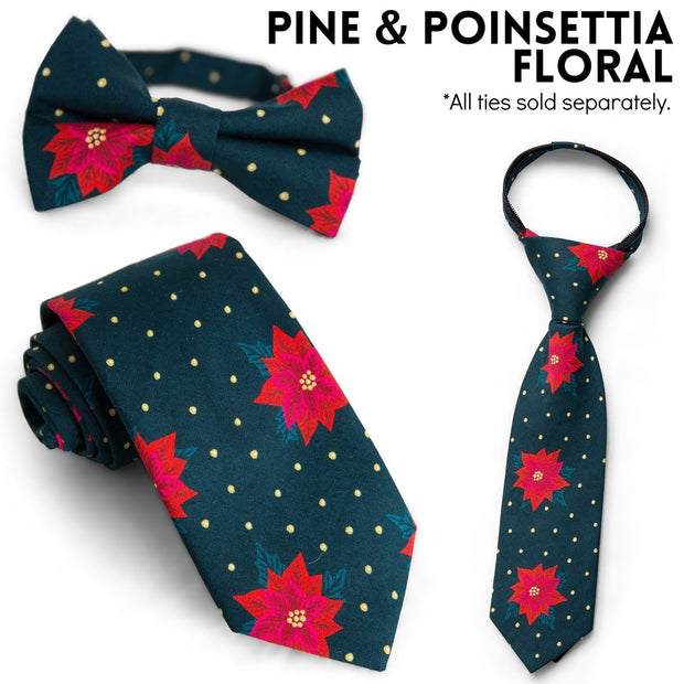 Pine & Poinsettia Floral Bow Tie (Boys and Men)
