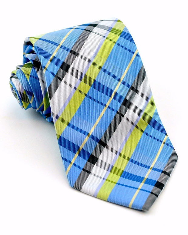 Pistachio and Blue Plaid Standard Necktie
