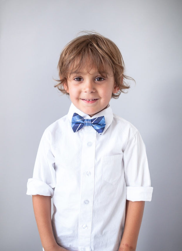 Powder and Navy Plaid Bow Tie (Boys and Men)
