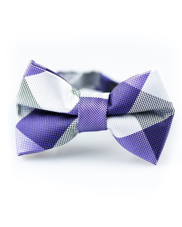 Purple and White Check Bow Tie (Boys and Men)