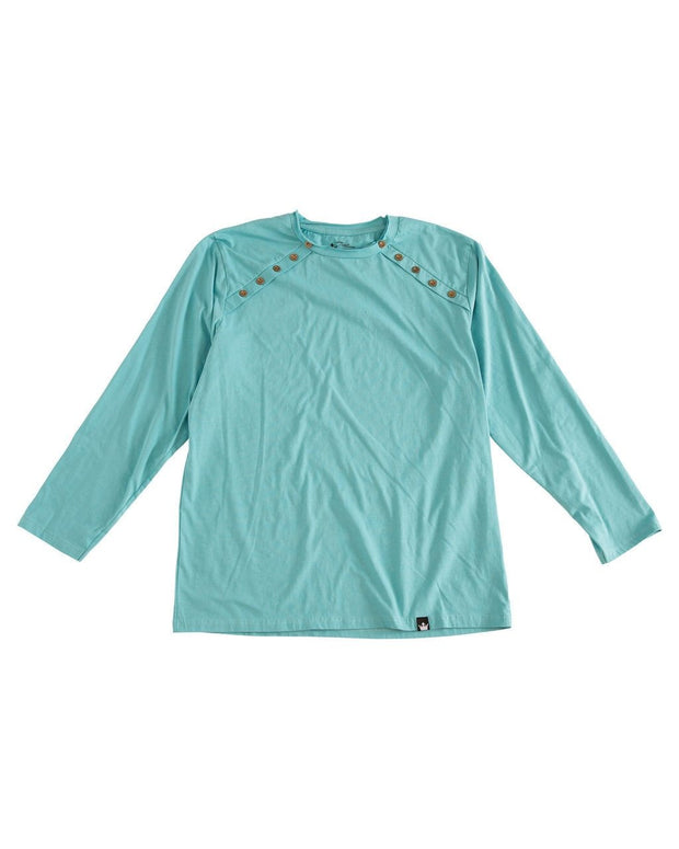 Dusty Aqua Men's Button Shoulder Shirt