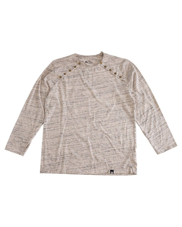 Oatmeal Slub Knit Men's Button Shoulder Shirt