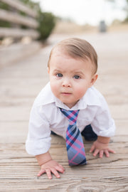 Raspberry and Navy Plaid Tie