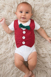 Red Dots Faux Vest Bodysuit with Interchangeable Bow Ties