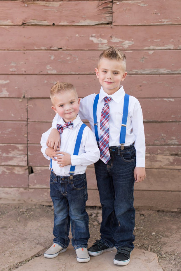 Red, White, & Blue Plaid Bow Tie (Boys and Men)