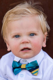 Banana and Blue Plaid Bow Tie (Boys and Men)