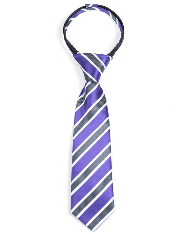 Royal Purple Stripe Zipper Tie