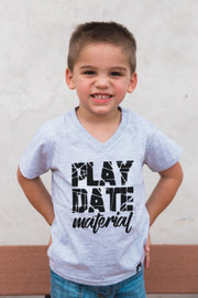Playdate Material Gray V-Neck Tee