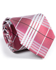 Ruby and White Plaid Standard Necktie