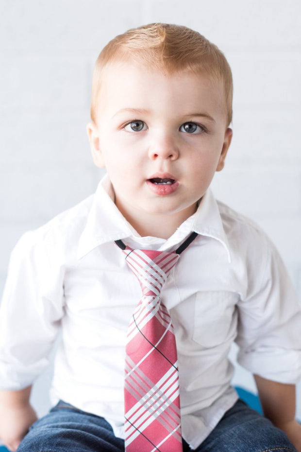 Ruby and White Plaid Zipper Tie
