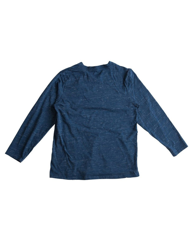 Navy Slub Knit Men's Side Button V-Neck Shirt