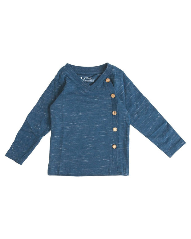 Navy Slub Knit Side Button V-Neck Shirt