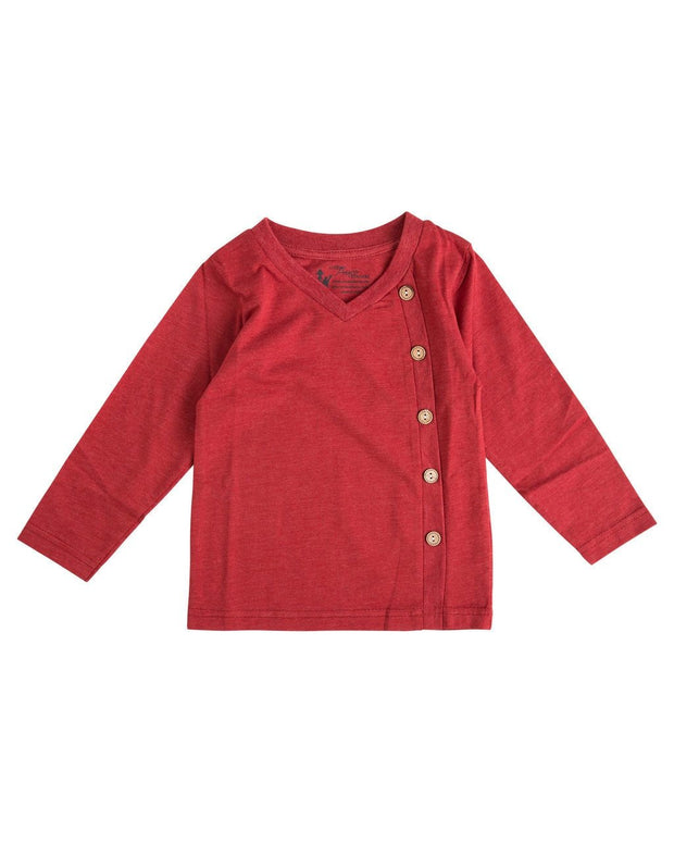 Red Side Button V-Neck Shirt
