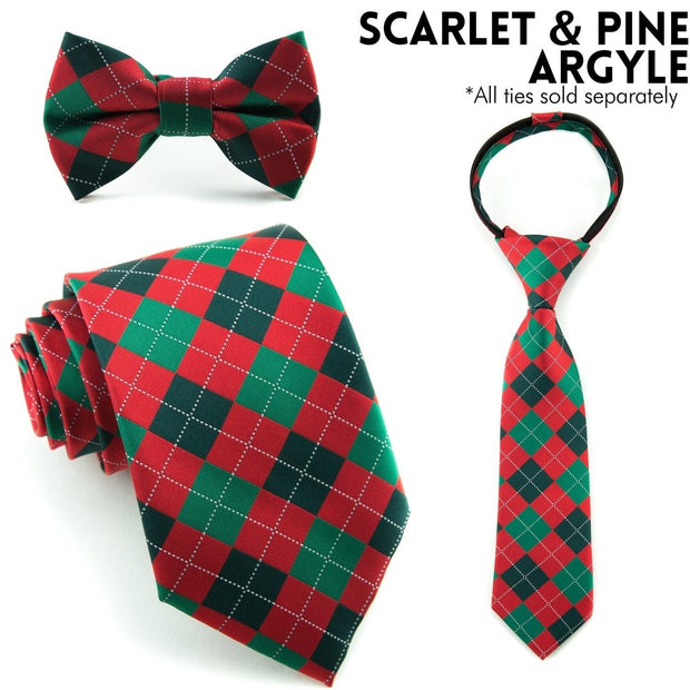 Scarlet and Pine Argyle Standard Necktie (Adult and Youth)