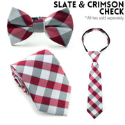 Slate and Crimson Check Standard Necktie (Adult and Youth)
