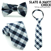Slate and Navy Check Bow Tie (Boys and Men)