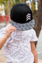 Black Geometric Snapback Hat