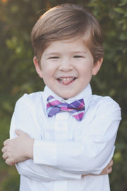 Magenta and Plum Plaid Bow Tie (Boys and Men)