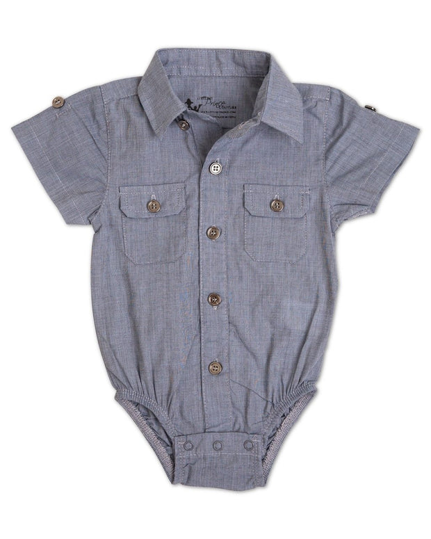 Steel Blue Short Sleeve Dress Shirt Bodysuit