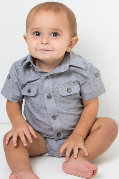 Slate Gray Short Sleeve Dress Shirt Bodysuit