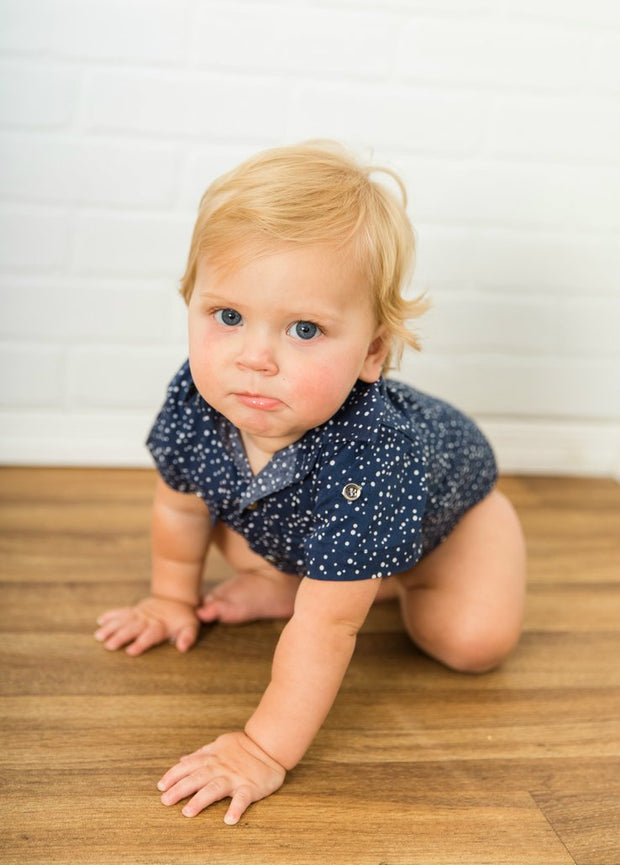 Indigo Dots Short Sleeve Dress Shirt Bodysuit