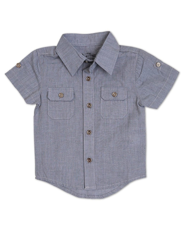Steel Blue Short Sleeve Dress Shirt