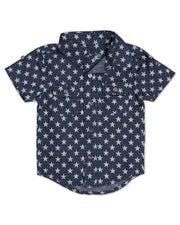 Chambray Stars Short Sleeve Dress Shirt