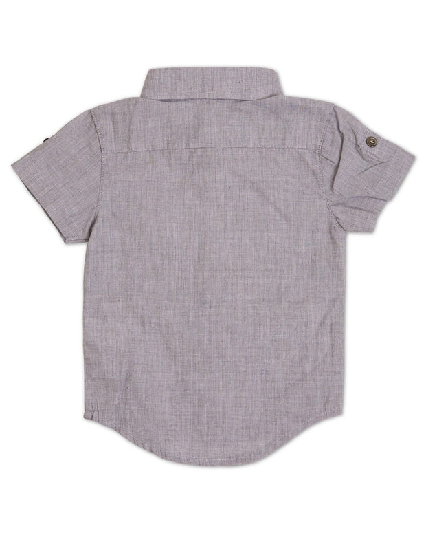 Slate Gray Short Sleeve Dress Shirt