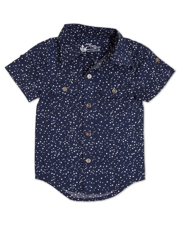 Indigo Dots Short Sleeve Dress Shirt