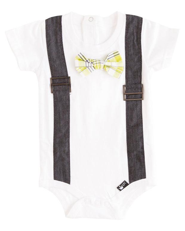 Black Chambray Faux Suspender Bodysuit with Interchangeable Bow Ties
