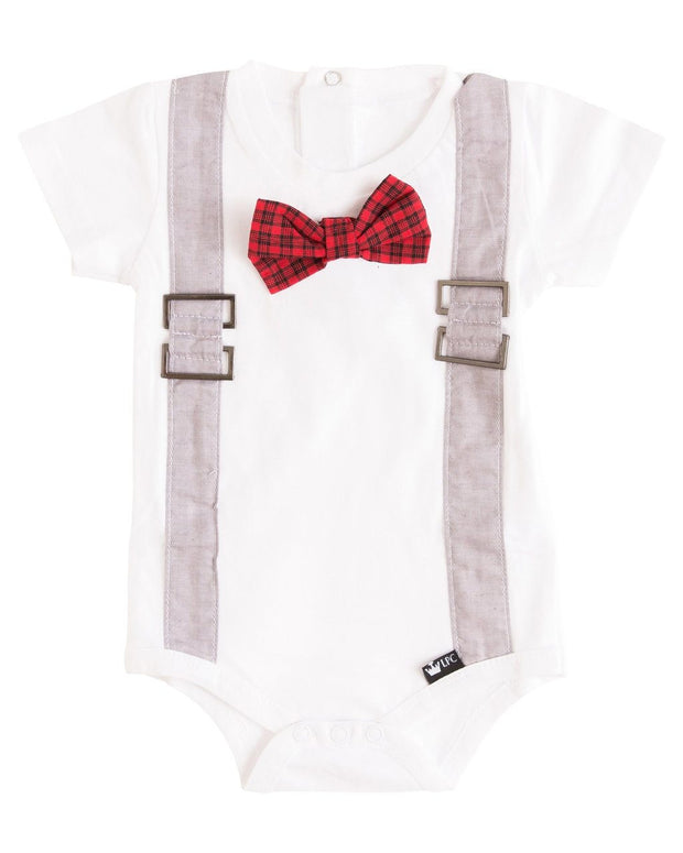 Gray Chambray Faux Suspender Bodysuit with Interchangeable Bow Ties