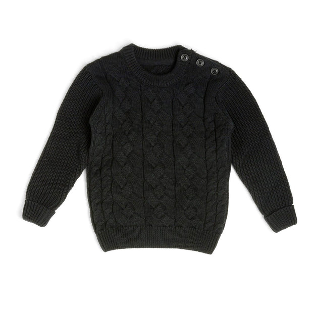 Black Button Shoulder Cable Knit Sweater