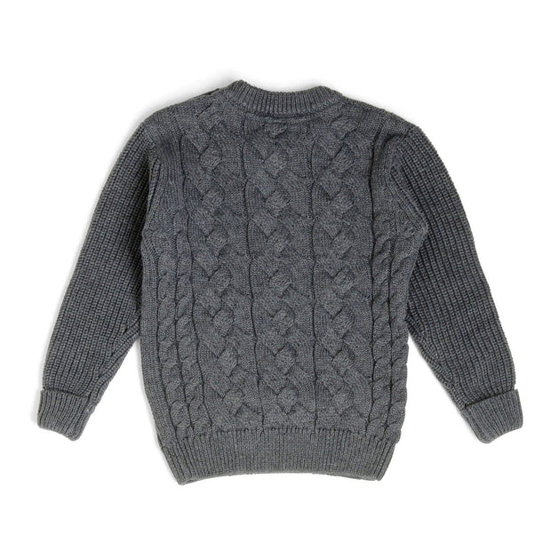 Charcoal Button Shoulder Cable Knit Sweater