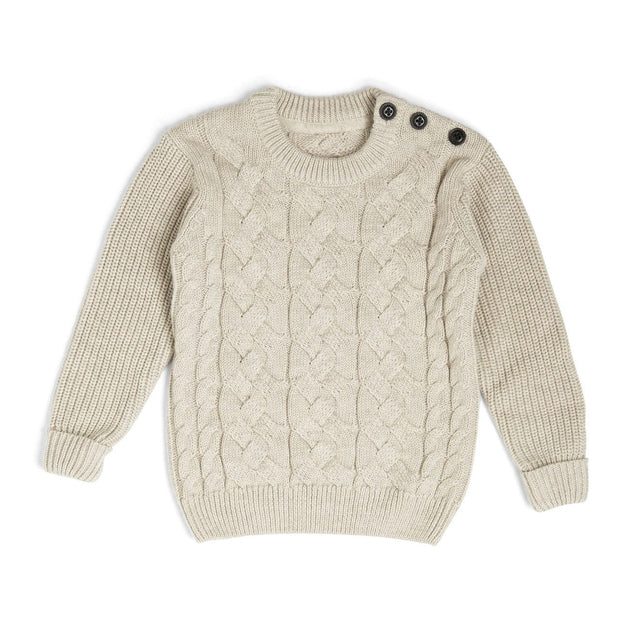 Cream Button Shoulder Cable Knit Sweater