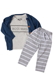 Cardigan Sweater, T-Shirt, & Joggers | 3 Piece Set