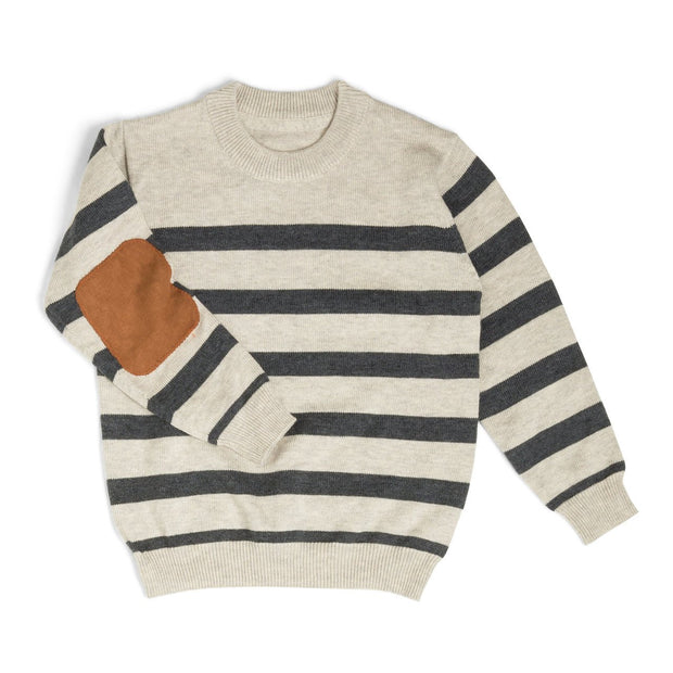 Cream & Charcoal Stripe Suede Patch Sweater