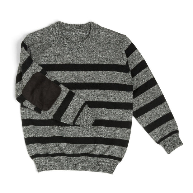 Gray & Black Stripe Suede Patch Sweater