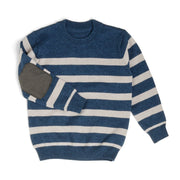 Navy & Gray Stripe Suede Patch Sweater