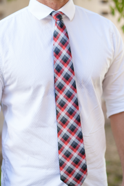 Charcoal & Crimson Check Tie
