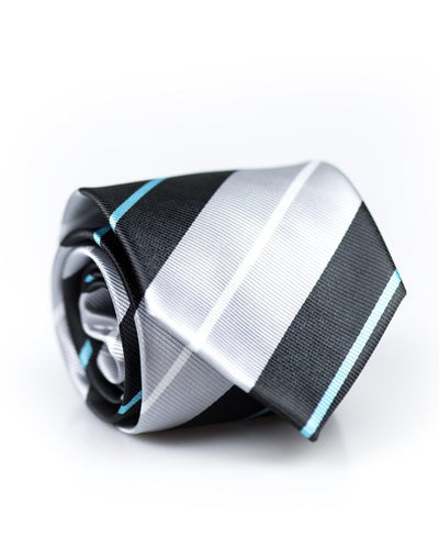 Silver and Black Stripe Standard Necktie