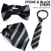 Stone & Black Stripe Zipper Tie (Boys and Men)