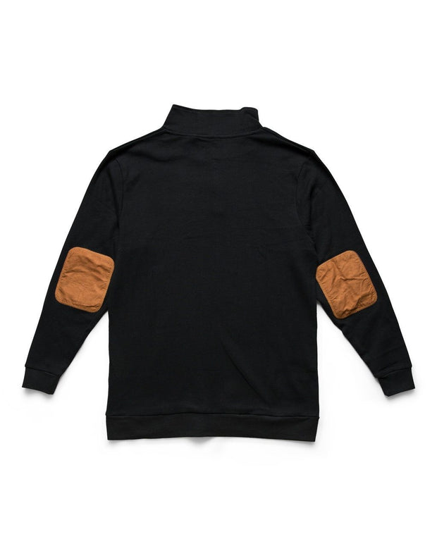 Black Men's Vegan Suede Accent Thermal Henley Shirt