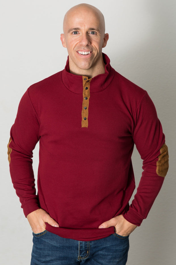 Vegan Suede Accent Thermal Henley