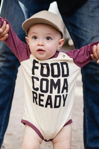 Food Coma Ready Burgundy Raglan Bodysuit